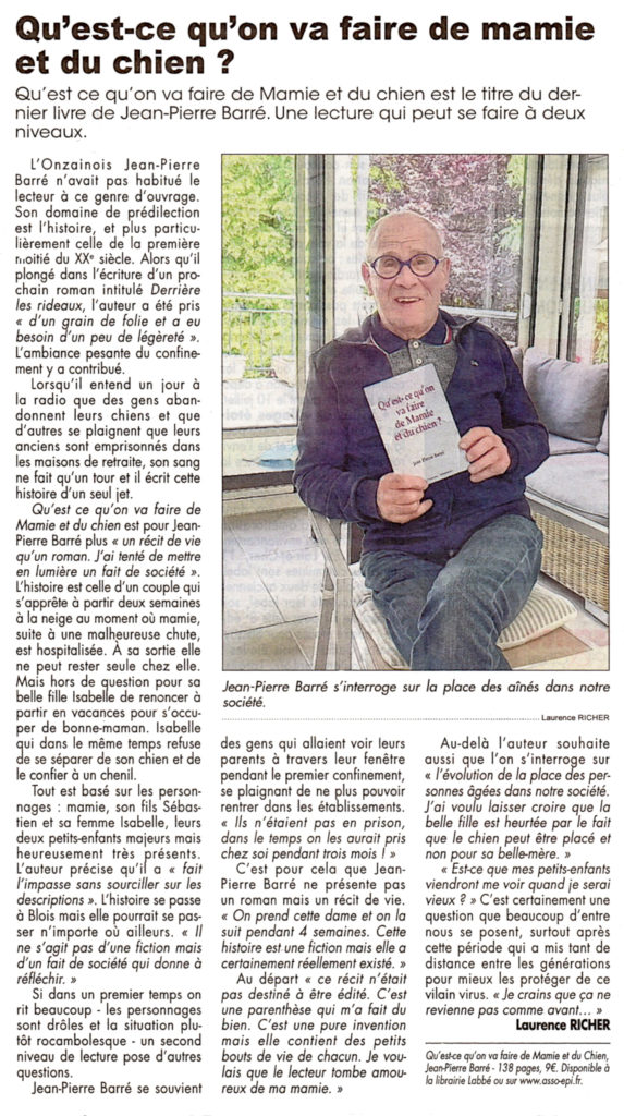 """article paru dans le journal La Renaissance du Loir & Cher à propos du livre """" Qu'est-ce qu'on a fait de Mamie et du chien ? """""""